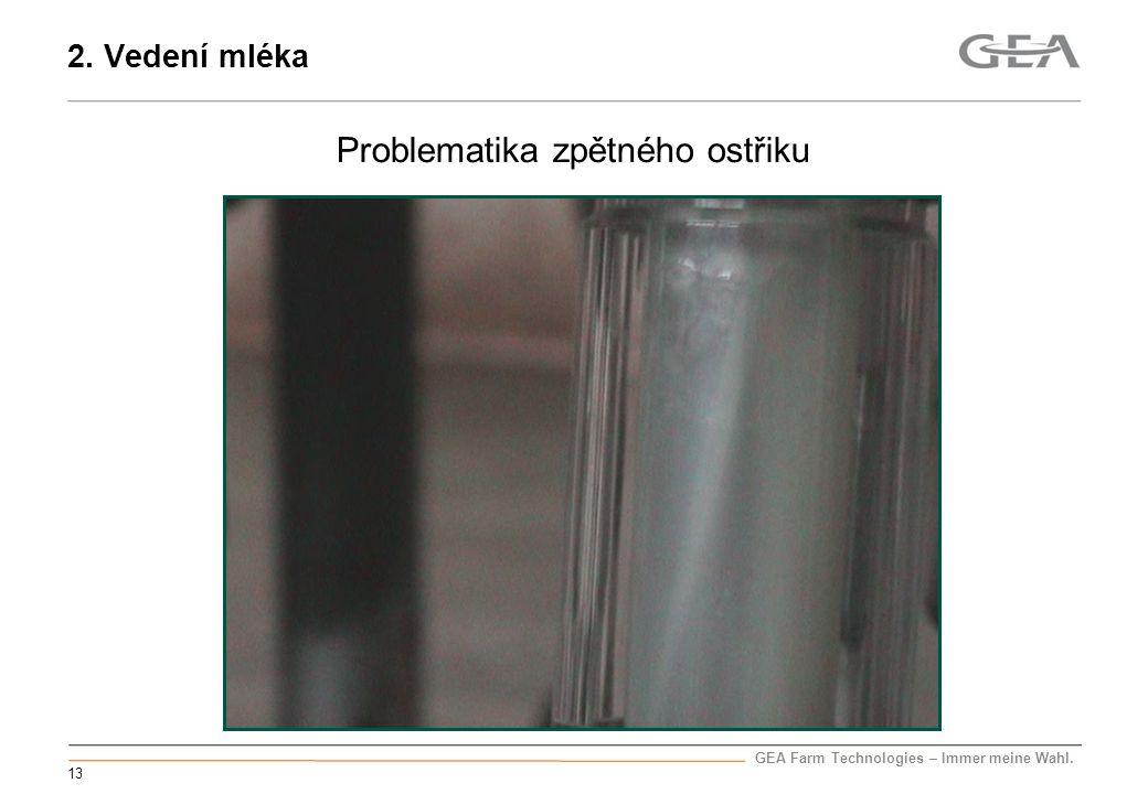 GEA Farm Technologies – Immer meine Wahl. 13 Problematika zpětného ostřiku 2. Vedení mléka