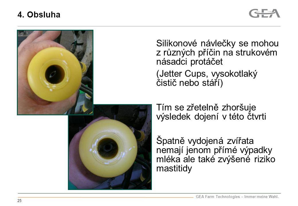 GEA Farm Technologies – Immer meine Wahl. 25 Silikonové návlečky se mohou z různých příčin na strukovém násadci protáčet (Jetter Cups, vysokotlaký čis