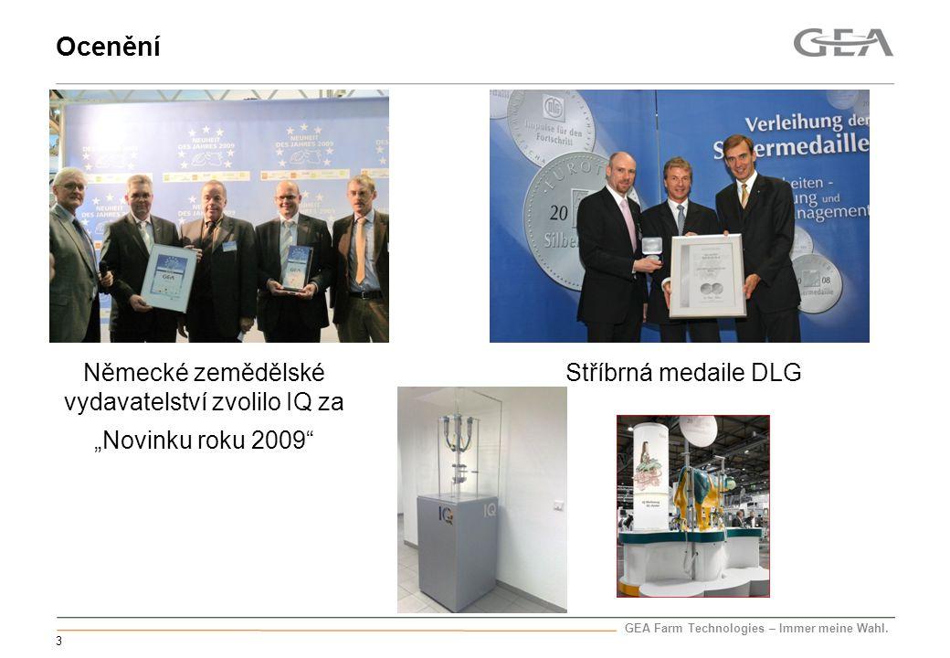 """GEA Farm Technologies – Immer meine Wahl. 3 Ocenění Stříbrná medaile DLG Německé zemědělské vydavatelství zvolilo IQ za """"Novinku roku 2009"""""""