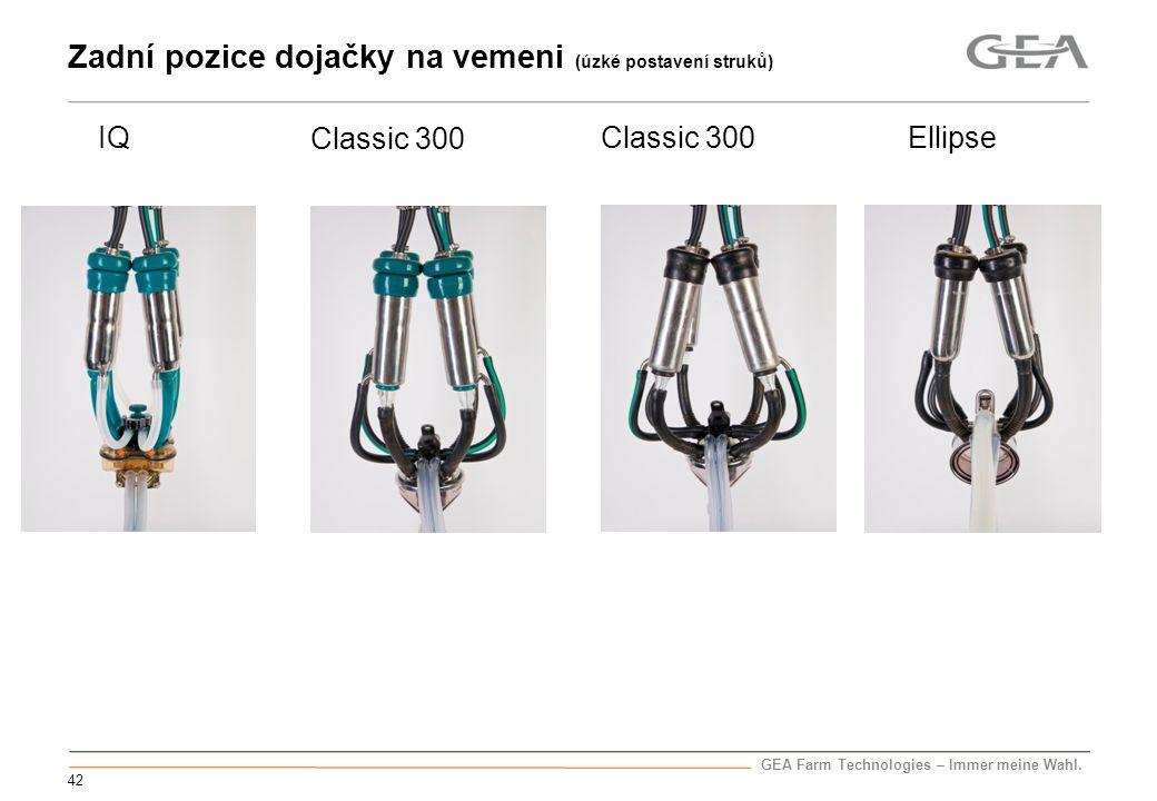GEA Farm Technologies – Immer meine Wahl. 42 Zadní pozice dojačky na vemeni (úzké postavení struků) IQ Ellipse Classic 300