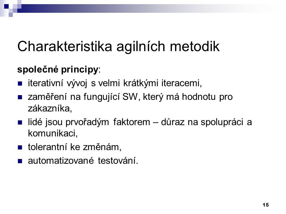 15 Charakteristika agilních metodik společné principy: iterativní vývoj s velmi krátkými iteracemi, zaměření na fungující SW, který má hodnotu pro zák