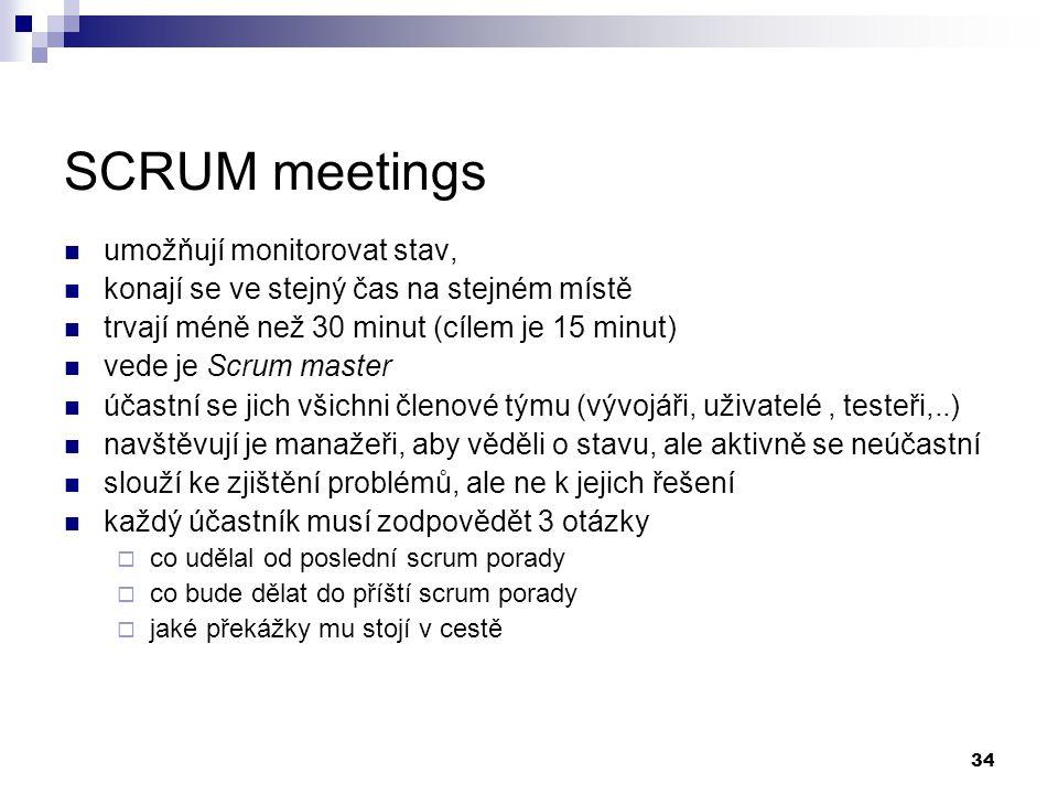 34 SCRUM meetings umožňují monitorovat stav, konají se ve stejný čas na stejném místě trvají méně než 30 minut (cílem je 15 minut) vede je Scrum maste