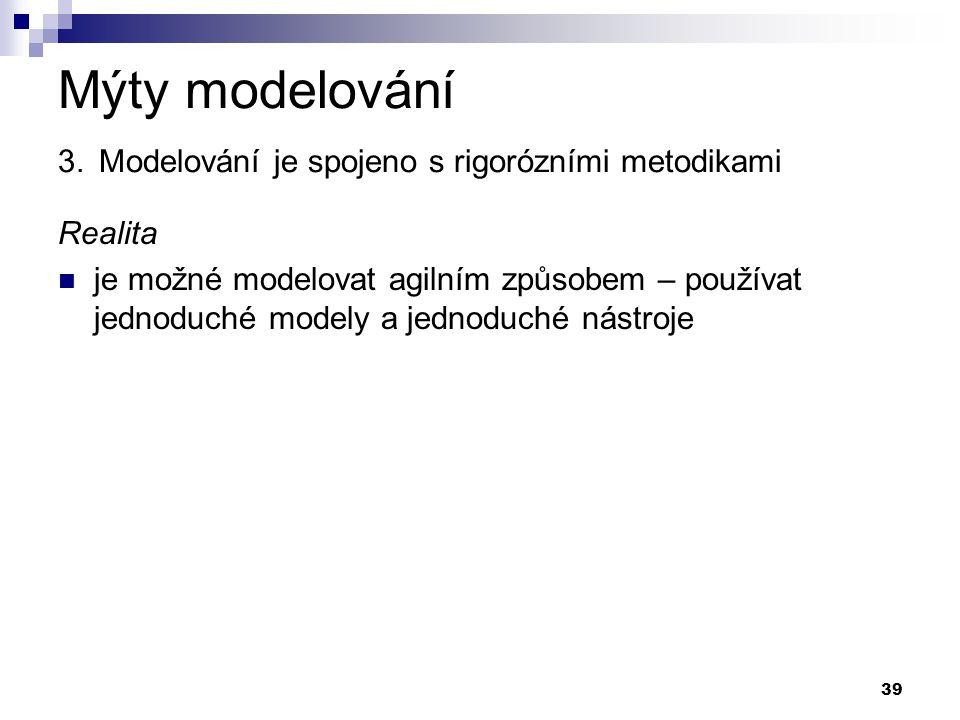 39 Mýty modelování 3. Modelování je spojeno s rigorózními metodikami Realita je možné modelovat agilním způsobem – používat jednoduché modely a jednod