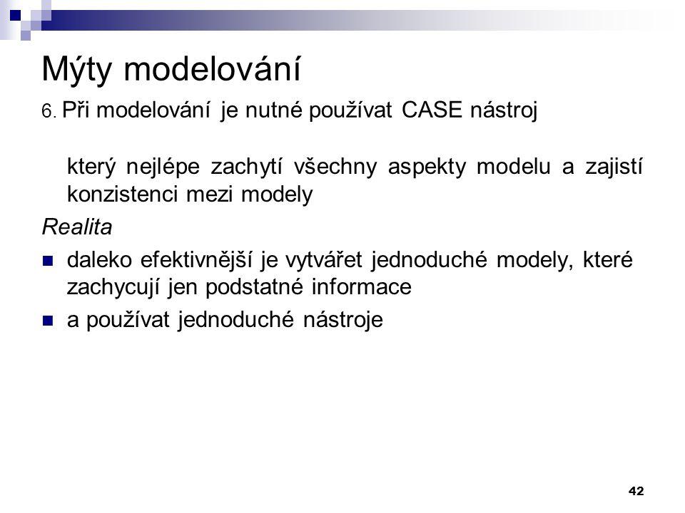 42 Mýty modelování 6. Při modelování je nutné používat CASE nástroj který nejlépe zachytí všechny aspekty modelu a zajistí konzistenci mezi modely Rea