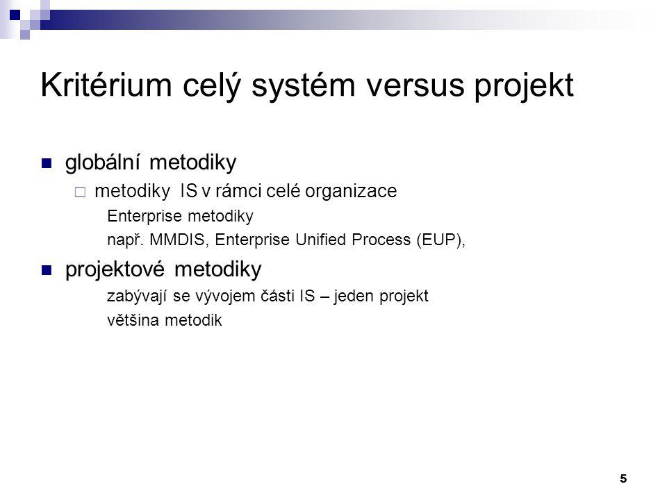 5 Kritérium celý systém versus projekt globální metodiky  metodiky IS v rámci celé organizace Enterprise metodiky např. MMDIS, Enterprise Unified Pro