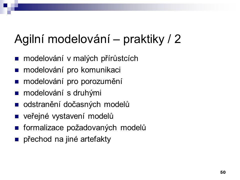 50 Agilní modelování – praktiky / 2 modelování v malých přírůstcích modelování pro komunikaci modelování pro porozumění modelování s druhými odstraněn