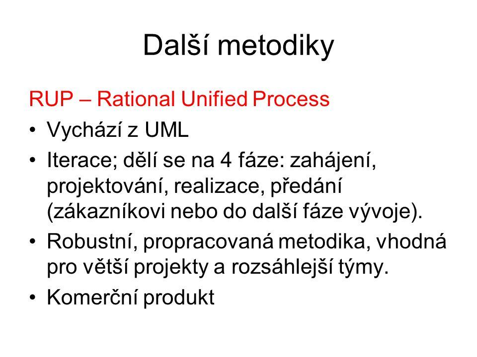 Další metodiky RUP – Rational Unified Process Vychází z UML Iterace; dělí se na 4 fáze: zahájení, projektování, realizace, předání (zákazníkovi nebo do další fáze vývoje).