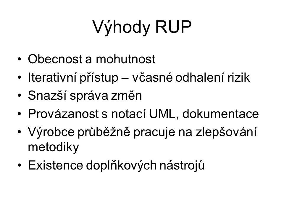 Výhody RUP Obecnost a mohutnost Iterativní přístup – včasné odhalení rizik Snazší správa změn Provázanost s notací UML, dokumentace Výrobce průběžně p