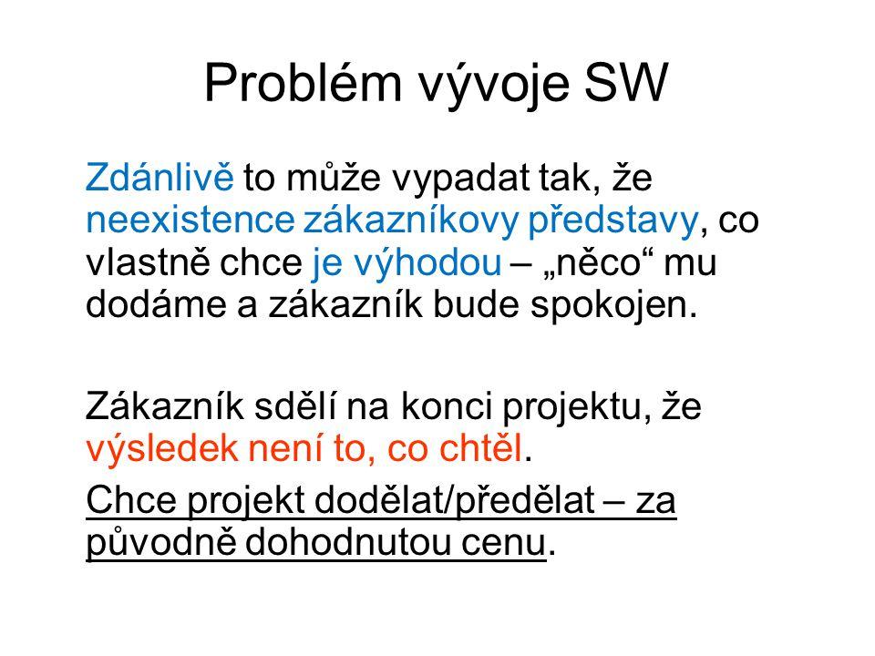 """Problém vývoje SW Zdánlivě to může vypadat tak, že neexistence zákazníkovy představy, co vlastně chce je výhodou – """"něco mu dodáme a zákazník bude spokojen."""