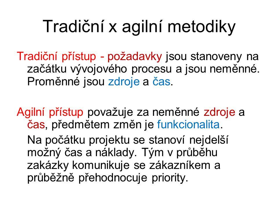 Tradiční x agilní metodiky Tradiční přístup - požadavky jsou stanoveny na začátku vývojového procesu a jsou neměnné. Proměnné jsou zdroje a čas. Agiln