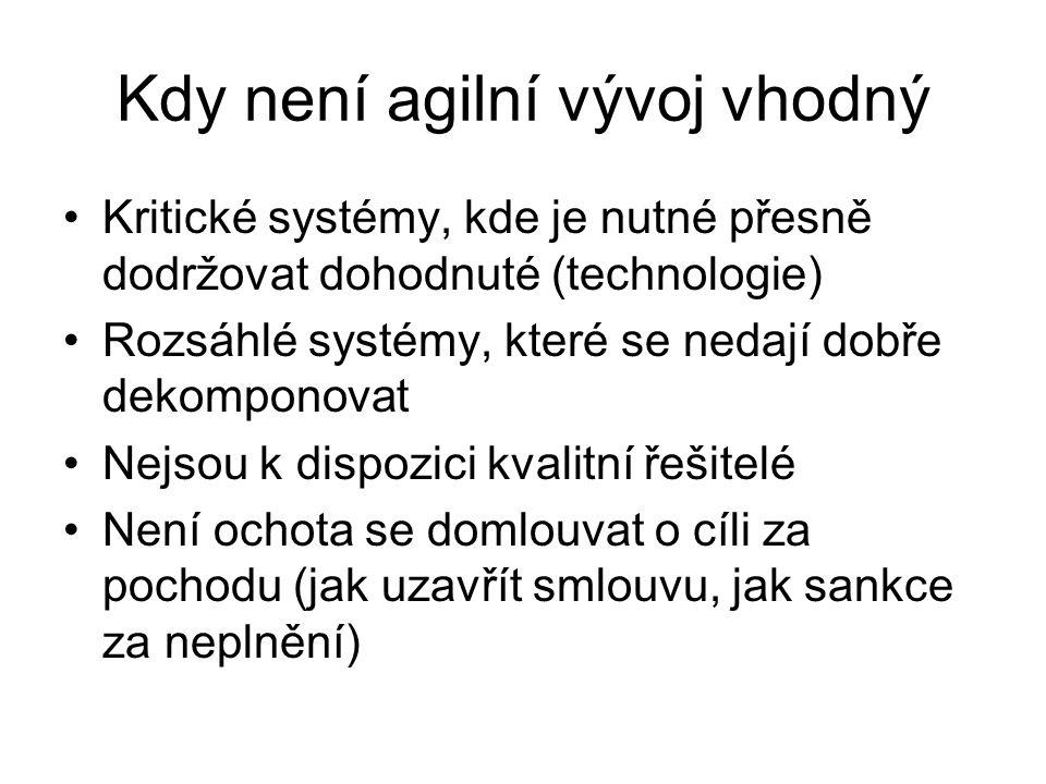 Kdy není agilní vývoj vhodný Kritické systémy, kde je nutné přesně dodržovat dohodnuté (technologie) Rozsáhlé systémy, které se nedají dobře dekompono
