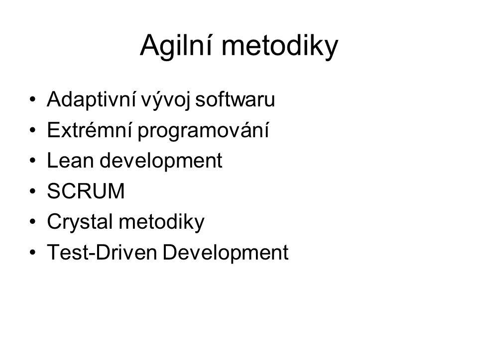 Agilní metodiky Adaptivní vývoj softwaru Extrémní programování Lean development SCRUM Crystal metodiky Test-Driven Development
