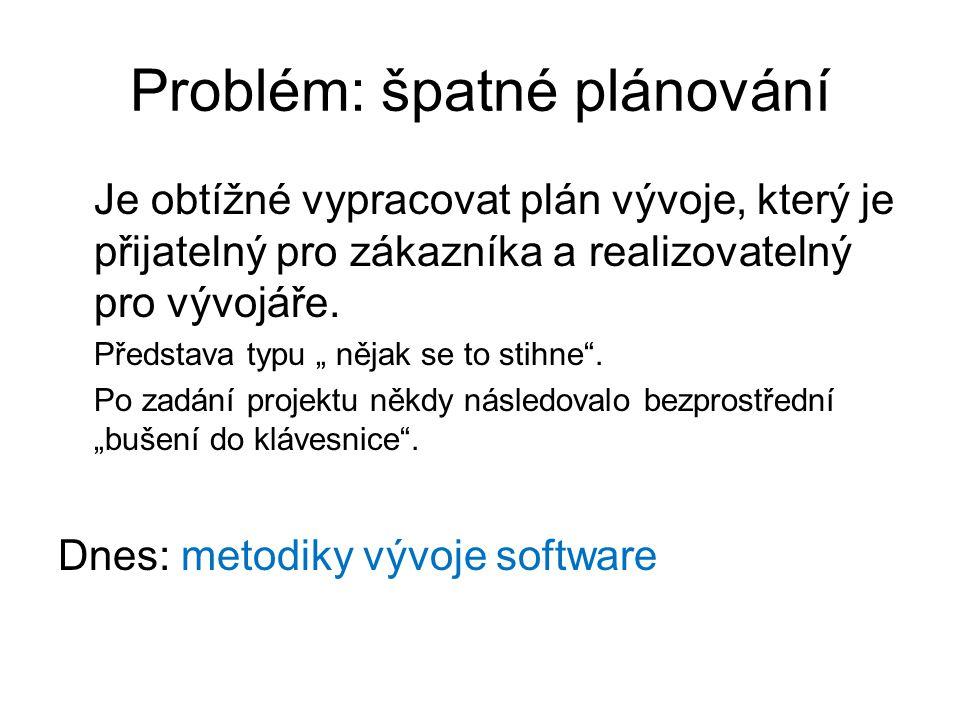 """Problém: špatné plánování Je obtížné vypracovat plán vývoje, který je přijatelný pro zákazníka a realizovatelný pro vývojáře. Představa typu """" nějak s"""