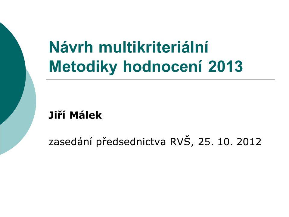 Návrh multikriteriální Metodiky hodnocení 2013 Jiří Málek zasedání předsednictva RVŠ, 25. 10. 2012