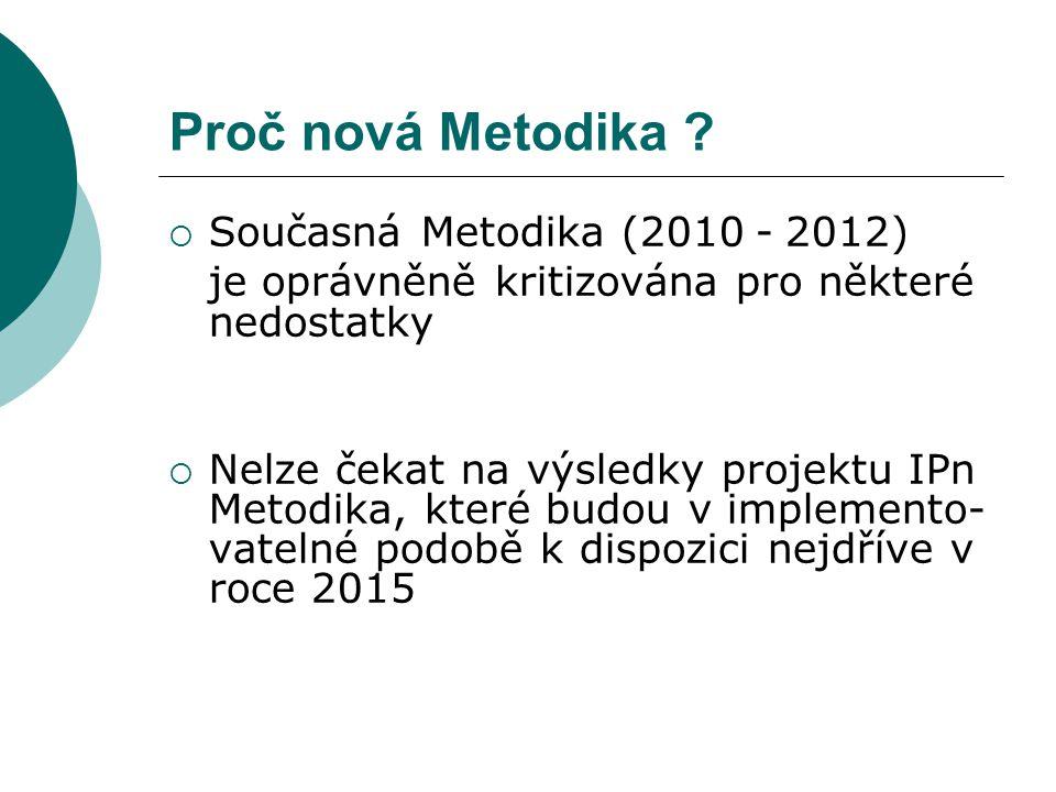 Proč nová Metodika ?  Současná Metodika (2010 - 2012) je oprávněně kritizována pro některé nedostatky  Nelze čekat na výsledky projektu IPn Metodika