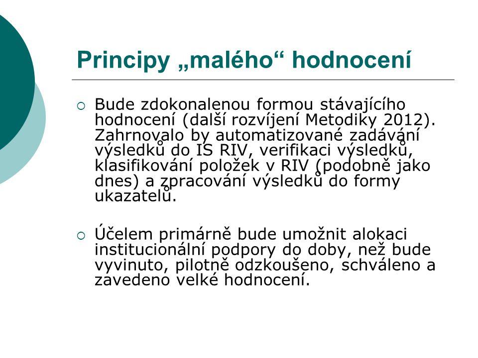 """Principy """"malého"""" hodnocení  Bude zdokonalenou formou stávajícího hodnocení (další rozvíjení Metodiky 2012). Zahrnovalo by automatizované zadávání vý"""