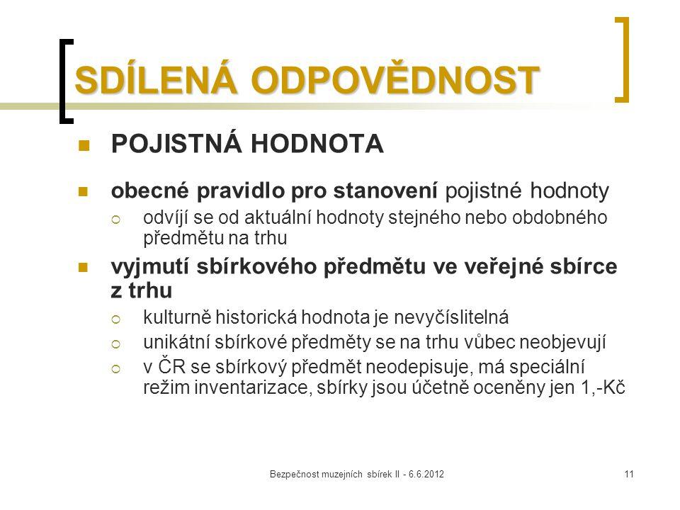Bezpečnost muzejních sbírek II - 6.6.201211 SDÍLENÁ ODPOVĚDNOST POJISTNÁ HODNOTA obecné pravidlo pro stanovení pojistné hodnoty  odvíjí se od aktuáln