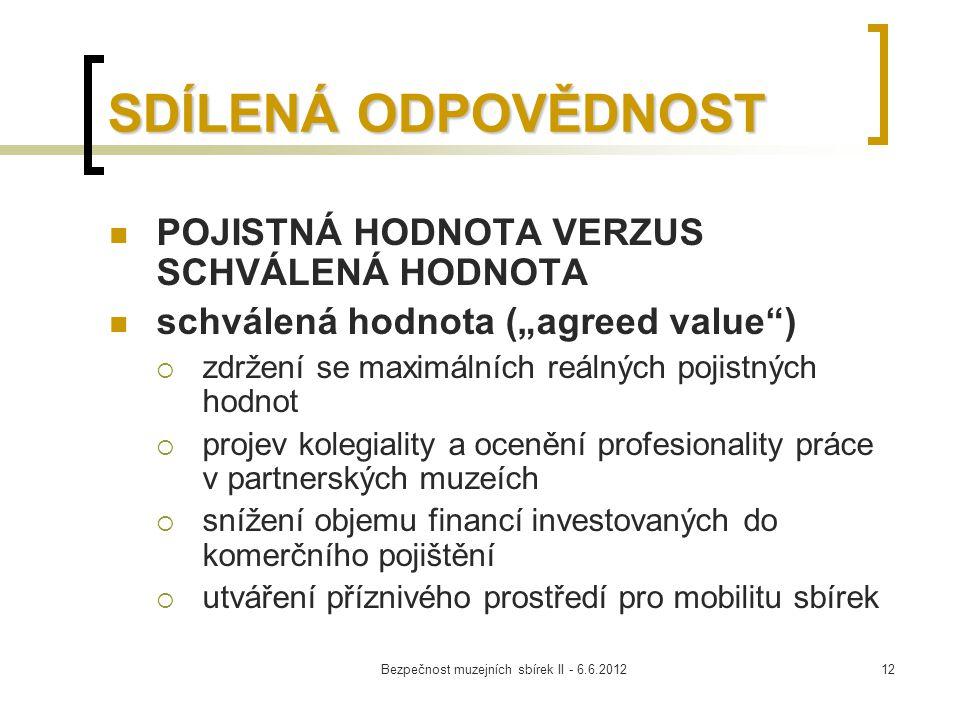"""Bezpečnost muzejních sbírek II - 6.6.201212 SDÍLENÁ ODPOVĚDNOST POJISTNÁ HODNOTA VERZUS SCHVÁLENÁ HODNOTA schválená hodnota (""""agreed value"""")  zdržení"""