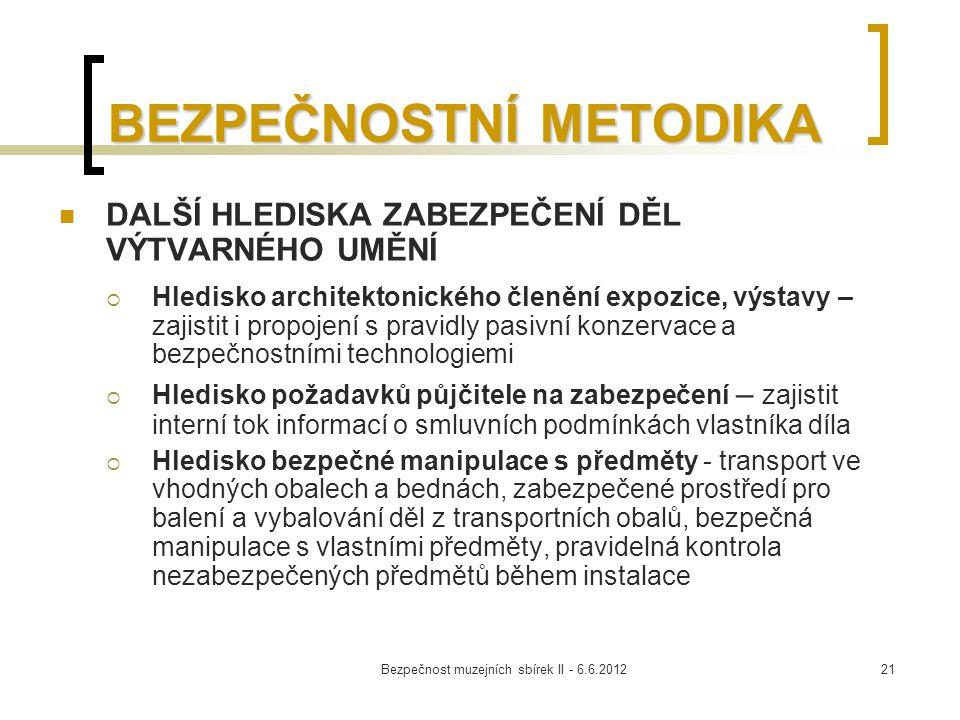 Bezpečnost muzejních sbírek II - 6.6.201221 BEZPEČNOSTNÍ METODIKA DALŠÍ HLEDISKA ZABEZPEČENÍ DĚL VÝTVARNÉHO UMĚNÍ  Hledisko architektonického členění