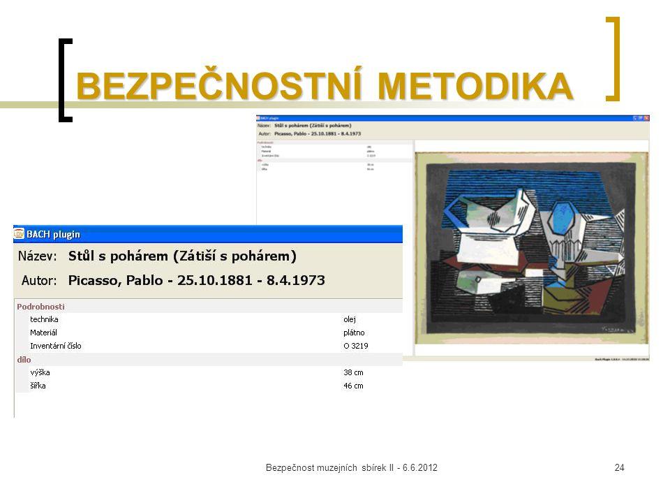 Bezpečnost muzejních sbírek II - 6.6.201224 BEZPEČNOSTNÍ METODIKA