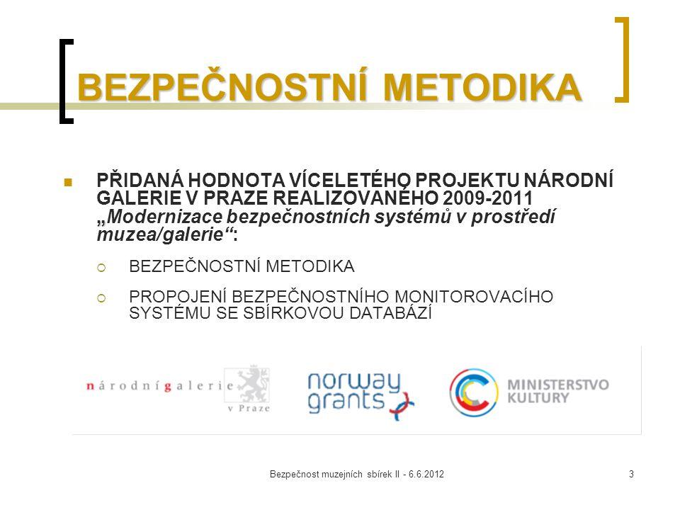 Bezpečnost muzejních sbírek II - 6.6.20124 BEZPEČNOSTNÍ METODIKA Byla vydána na CD/DVD Obsahuje dvě části:  Manuál bezpečnosti sbírek  Vzdělávací modul Aktuálně je dostupná na webu MC MVU  http://www.mc-galerie.cz/dokumenty/