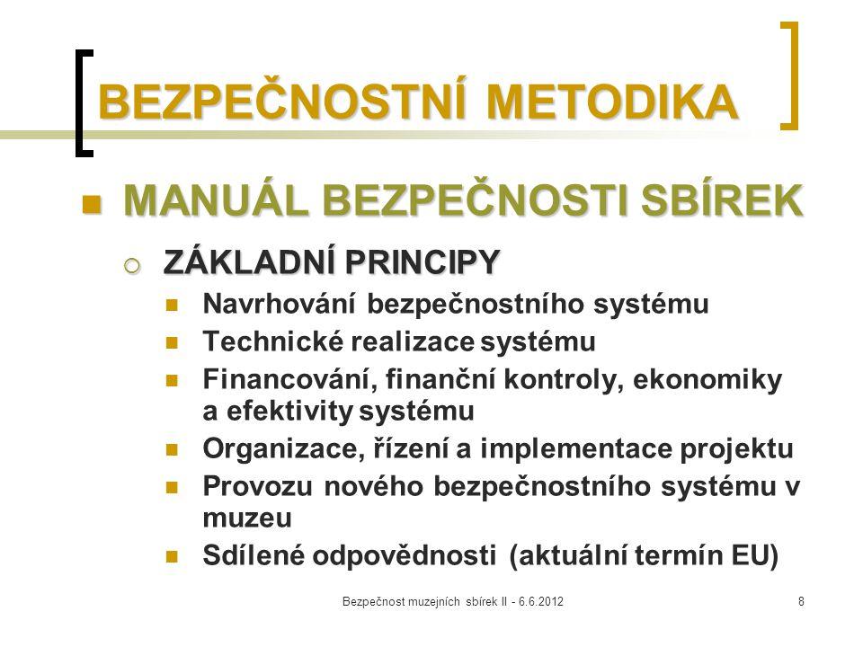Bezpečnost muzejních sbírek II - 6.6.20129 SDÍLENÁ ODPOVĚDNOST spočívá hlavně v dodržování těchto principů:  náležité péče (due diligence) – dodržování všech nezbytných standardů a etických kodexů muzejní práce a péče o sbírky přístup vzájemně propojených odborných postupů a činností, které lze očekávat v souvislosti s kulturními statky, náležitá péče a správa (z hlediska klimatických, bezpečnostních, smluvních a dalších podmínek)  prevence nezákonného pohybu kulturních statků a dlouhodobých výpůjček  podporování důvěry mezi muzei díky mobilitě odborníků  přijetím podílu na zajištění výpůjčky prostřednictvím státní záruky případně vzájemným rozdělením rizik