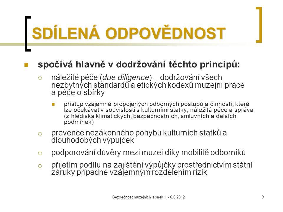 Bezpečnost muzejních sbírek II - 6.6.20129 SDÍLENÁ ODPOVĚDNOST spočívá hlavně v dodržování těchto principů:  náležité péče (due diligence) – dodržová