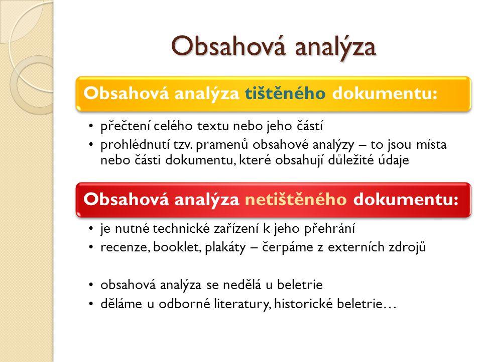 Obsahová analýza Obsahová analýza tištěného dokumentu: přečtení celého textu nebo jeho částí prohlédnutí tzv. pramenů obsahové analýzy – to jsou místa
