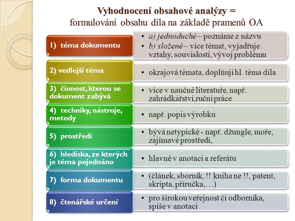 Vyhodnocení obsahové analýzy = formulování obsahu díla na základě pramenů OA a) jednoduché – poznáme z názvu b) složené – více témat, vyjadřuje vztahy