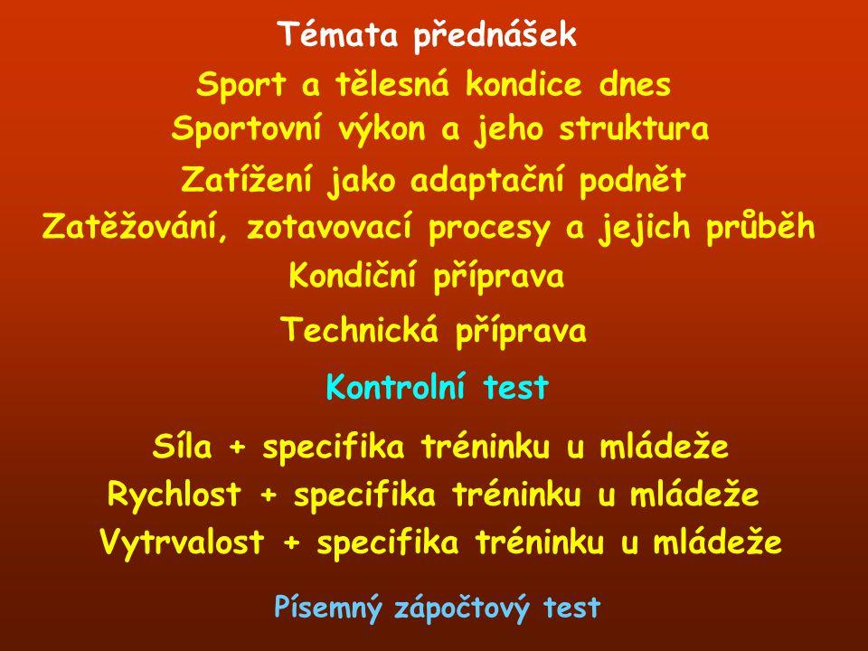 Témata přednášek Sportovní výkon a jeho struktura Zatěžování, zotavovací procesy a jejich průběh Sport a tělesná kondice dnes Technická příprava Zatíž