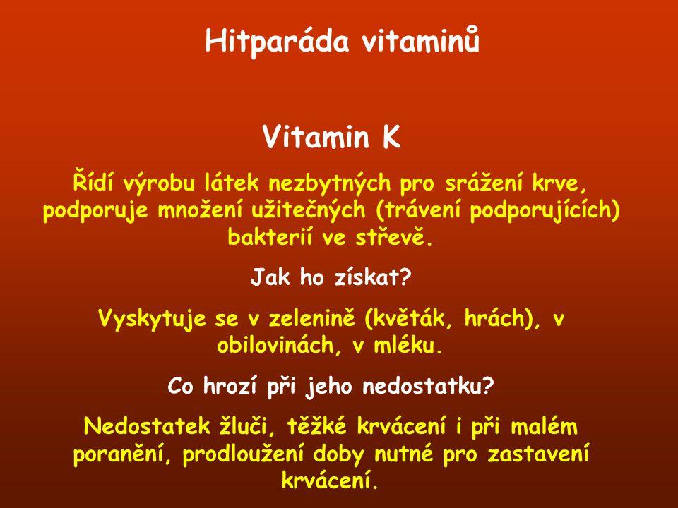 Vitamin K Řídí výrobu látek nezbytných pro srážení krve, podporuje množení užitečných (trávení podporujících) bakterií ve střevě. Jak ho získat? Vysky
