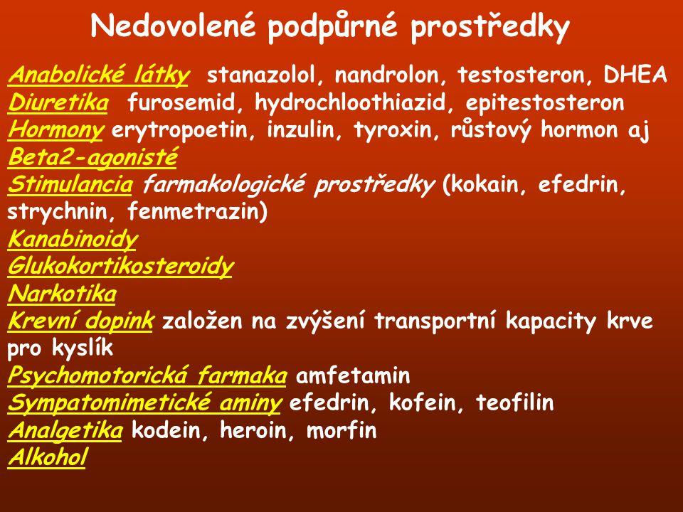 Anabolické látky stanazolol, nandrolon, testosteron, DHEA Diuretika furosemid, hydrochloothiazid, epitestosteron Hormony erytropoetin, inzulin, tyroxi