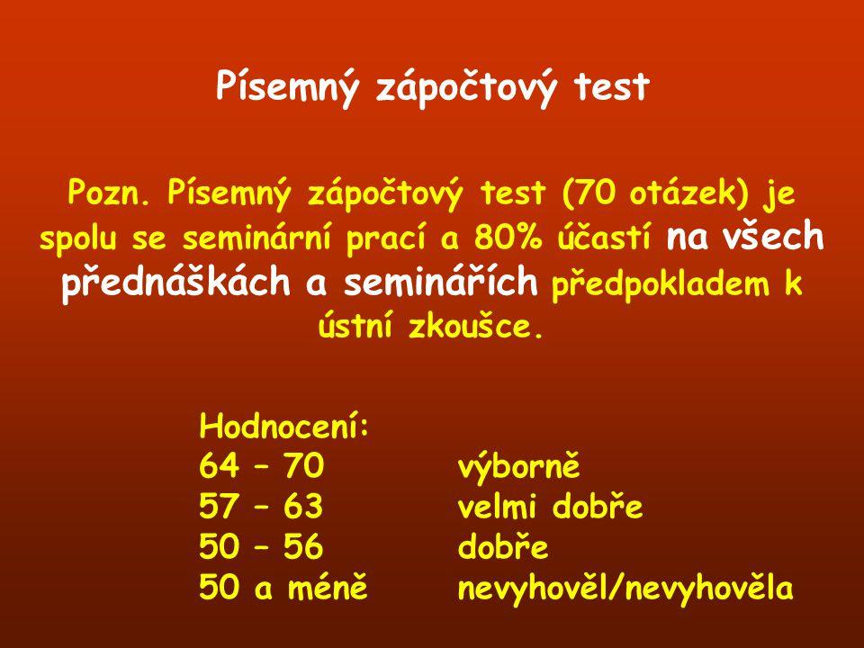 Pozn. Písemný zápočtový test (70 otázek) je spolu se seminární prací a 80% účastí na všech přednáškách a seminářích předpokladem k ústní zkoušce. Hodn
