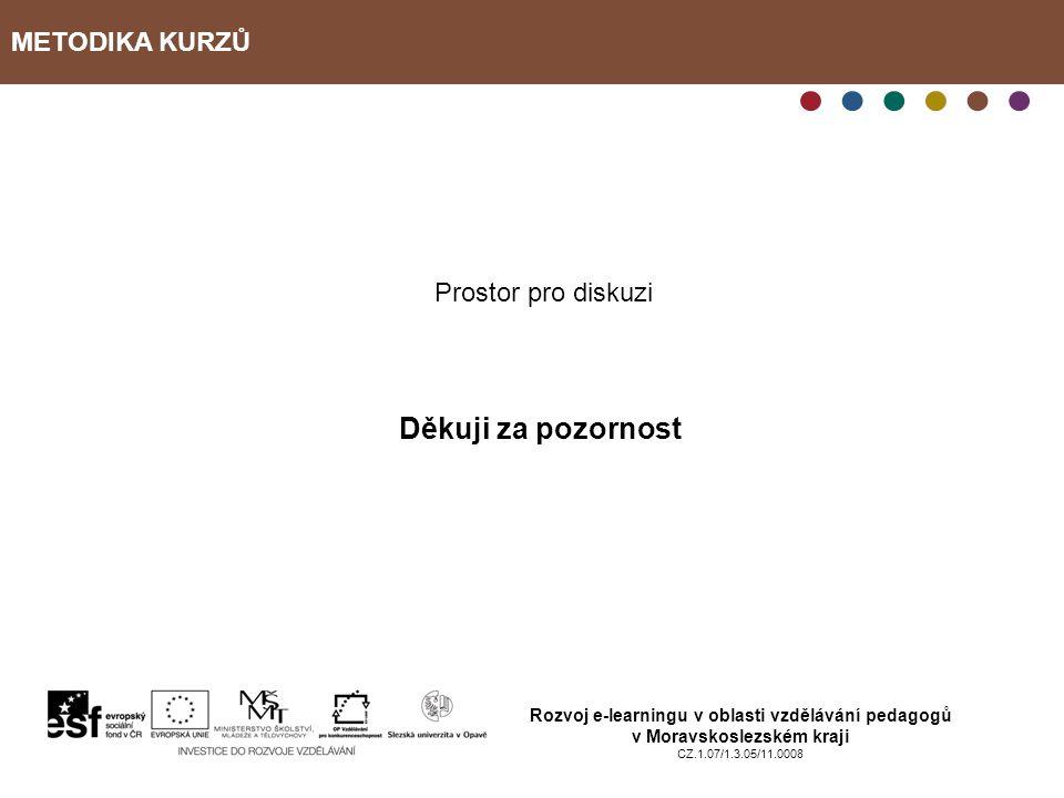 METODIKA KURZŮ Rozvoj e-learningu v oblasti vzdělávání pedagogů v Moravskoslezském kraji CZ.1.07/1.3.05/11.0008 Prostor pro diskuzi Děkuji za pozornost