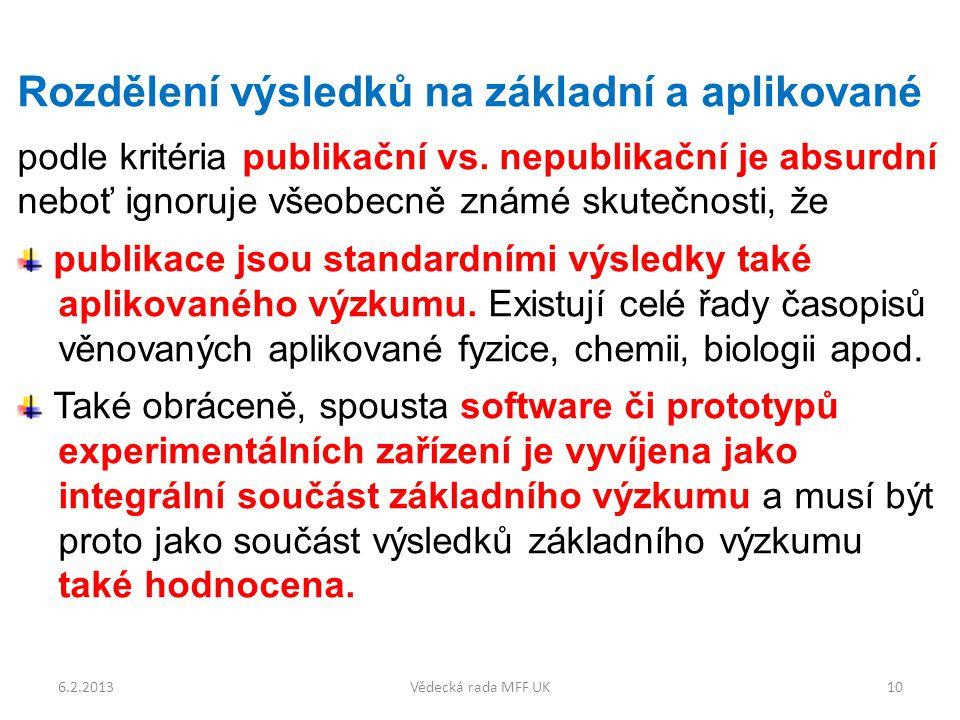Rozdělení výsledků na základní a aplikované podle kritéria publikační vs.