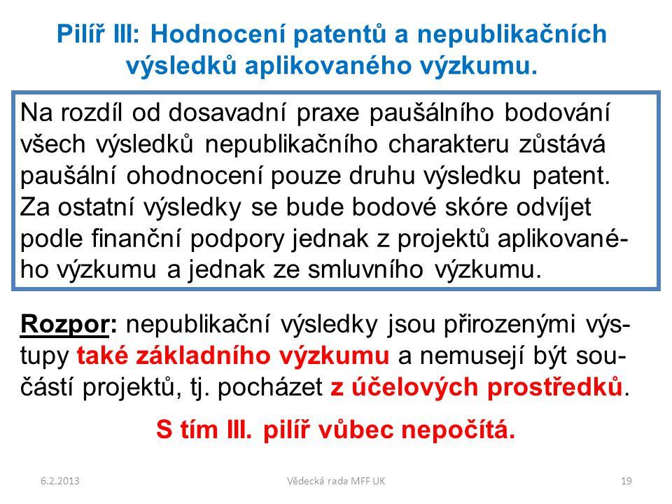 6.2.2013Vědecká rada MFF UK19 Pilíř III: Hodnocení patentů a nepublikačních výsledků aplikovaného výzkumu.