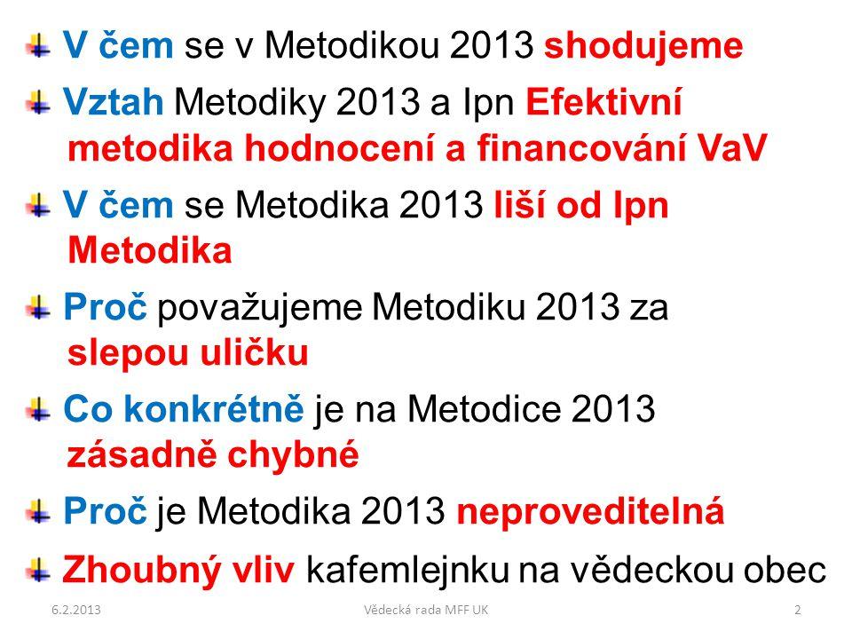 V čem se v Metodikou 2013 shodujeme Výchozí dokumenty Závěrečná zpráva Mezinárodního Auditu VaV v ČR Dlouhodobé principy hodnocení a financování schválené na 263.