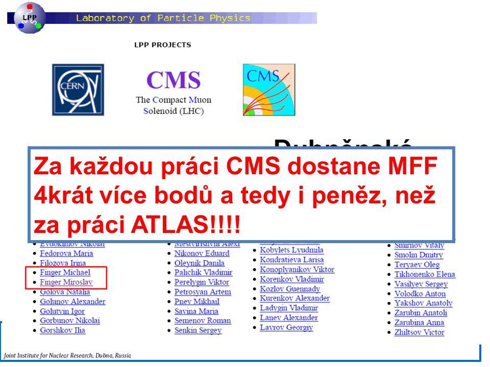 6.2.2013Vědecká rada MFF UK30 Účast MFF na experimentu CMS Za každou práci CMS dostane MFF 4krát více bodů a tedy i peněz, než za práci ATLAS!!!!