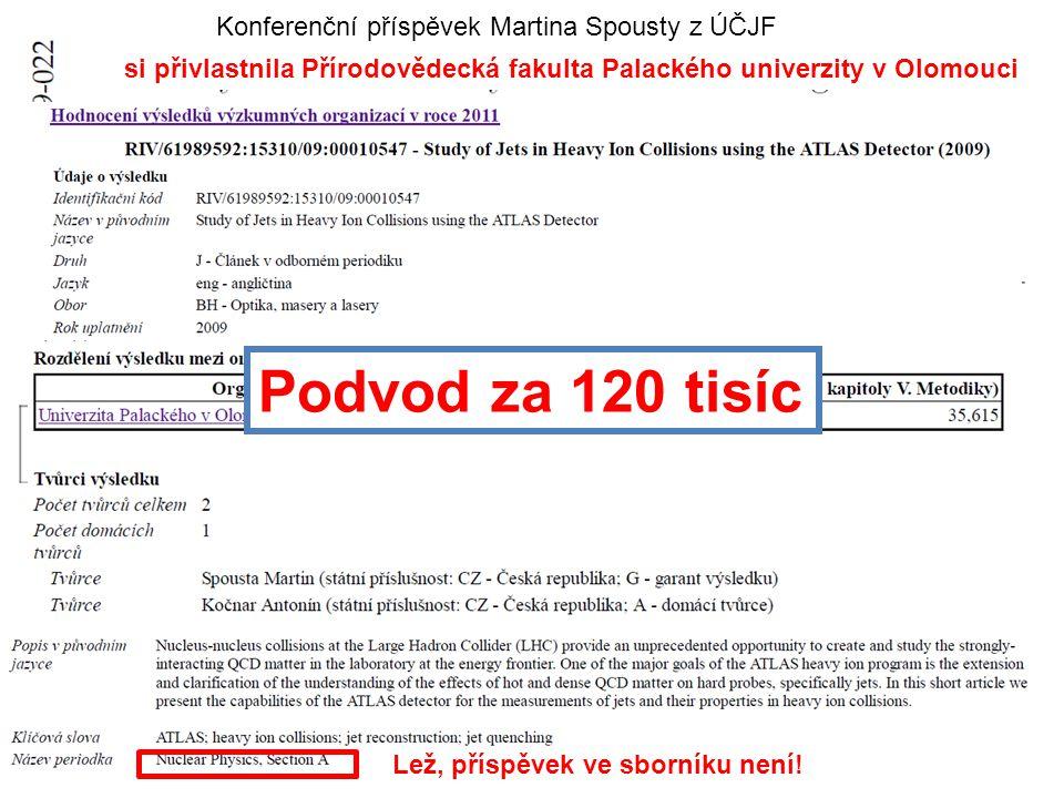 6.2.2013Vědecká rada MFF UK33 Konferenční příspěvek Martina Spousty z ÚČJF si přivlastnila Přírodovědecká fakulta Palackého univerzity v Olomouci Lež, příspěvek ve sborníku není.