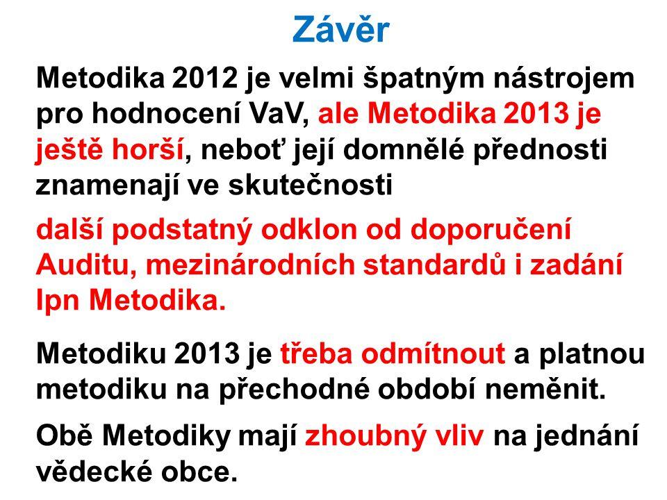 6.2.201334Vědecká rada MFF UK Závěr Metodika 2012 je velmi špatným nástrojem pro hodnocení VaV, ale Metodika 2013 je ještě horší, neboť její domnělé přednosti znamenají ve skutečnosti další podstatný odklon od doporučení Auditu, mezinárodních standardů i zadání Ipn Metodika.