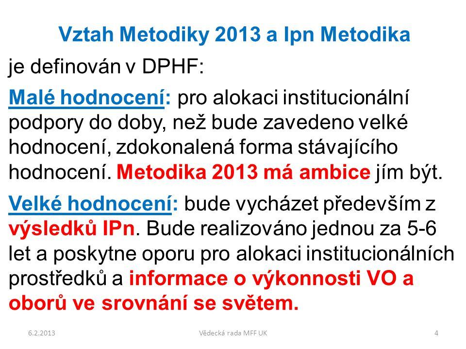 Vztah Metodiky 2013 a Ipn Metodika je definován v DPHF: Malé hodnocení: pro alokaci institucionální podpory do doby, než bude zavedeno velké hodnocení, zdokonalená forma stávajícího hodnocení.