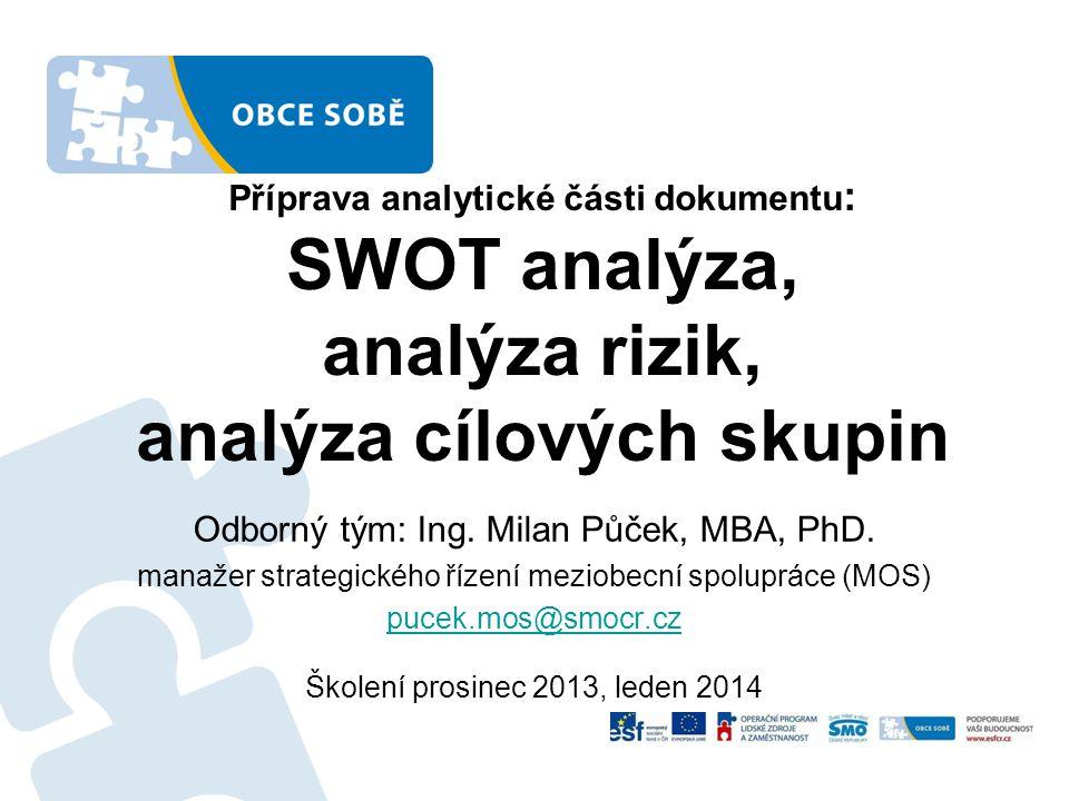 Příprava analytické části dokumentu : SWOT analýza, analýza rizik, analýza cílových skupin Odborný tým: Ing. Milan Půček, MBA, PhD. manažer strategick