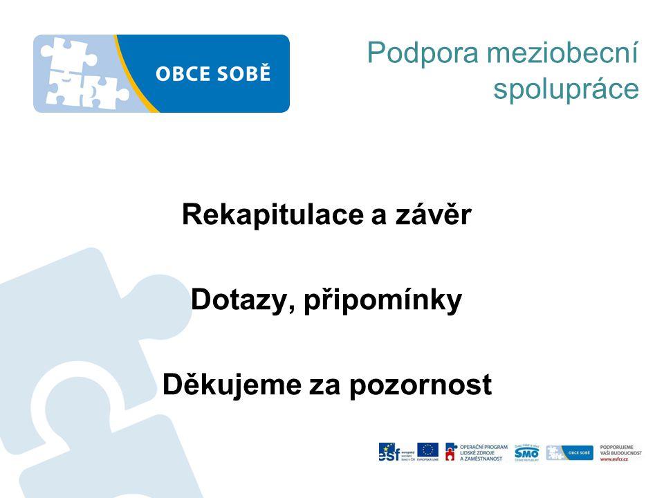 Rekapitulace a závěr Dotazy, připomínky Děkujeme za pozornost Podpora meziobecní spolupráce