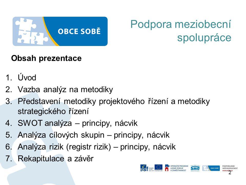 Vazba SWOT, analýzy rizik a analýzy cílových skupin na metodiky: 1.Metodika podpory meziobecní spolupráce 2.Rámcová metodika pro tvorbu dokumentů 3.Metodika pro oblast předškolní výchovy a základního školství 4.Metodika pro oblast sociálních služeb 5.Metodika pro odpadové hospodářství 6.Metodika strategického řízení pro MOS 7.Metodika projektového řízení pro MOS Podpora meziobecní spolupráce Určuje strukturu Souhrnného dokumentu včetně těchto analýz: -SWOT území ORP v bodě 2.2 -Všechny 3 analýzy jsou u povinných i volitelného tématu Obsahují analýzu SWOT, analýzu rizik a analýzu cílových skupin K datu školení jsou zpřístupněny.
