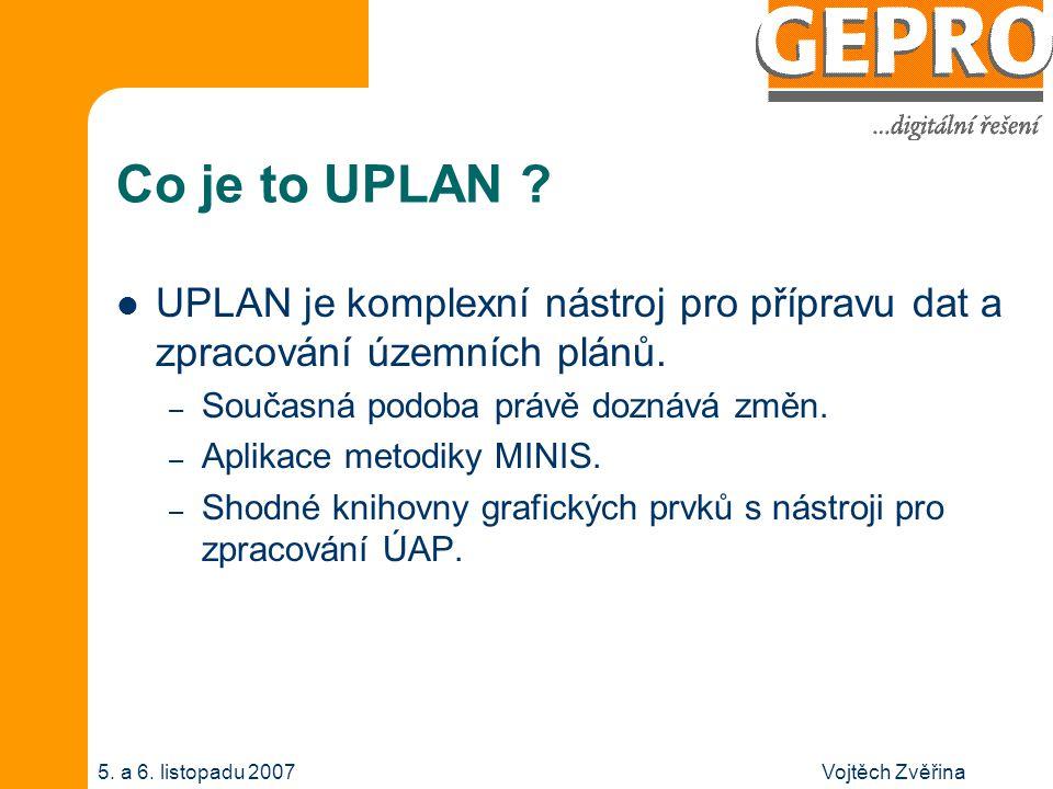 Vojtěch Zvěřina5. a 6. listopadu 2007 Co je to UPLAN ? UPLAN je komplexní nástroj pro přípravu dat a zpracování územních plánů. – Současná podoba práv