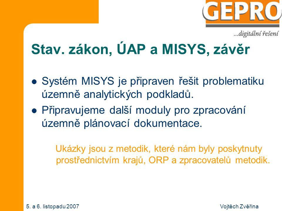 Vojtěch Zvěřina5. a 6. listopadu 2007 Stav. zákon, ÚAP a MISYS, závěr Systém MISYS je připraven řešit problematiku územně analytických podkladů. Připr