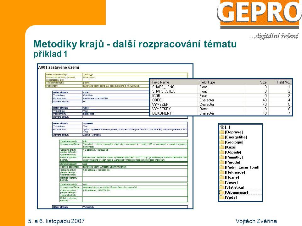 Vojtěch Zvěřina5. a 6. listopadu 2007 Metodiky krajů - další rozpracování tématu příklad 1