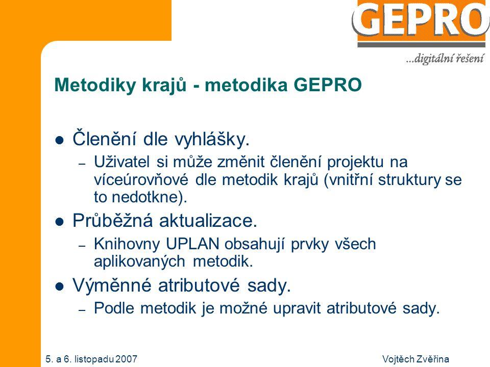 Vojtěch Zvěřina5. a 6. listopadu 2007 Metodiky krajů - metodika GEPRO Členění dle vyhlášky. – Uživatel si může změnit členění projektu na víceúrovňové