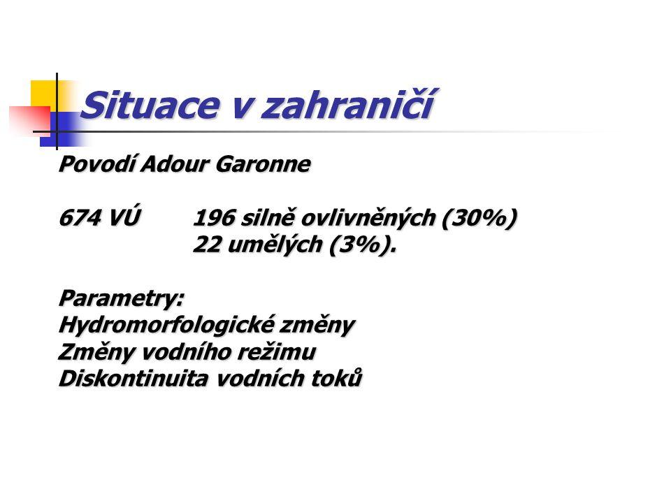Situace v zahraničí Povodí Adour Garonne 674 VÚ196 silně ovlivněných (30%) 22 umělých (3%). Parametry: Hydromorfologické změny Změny vodního režimu Di