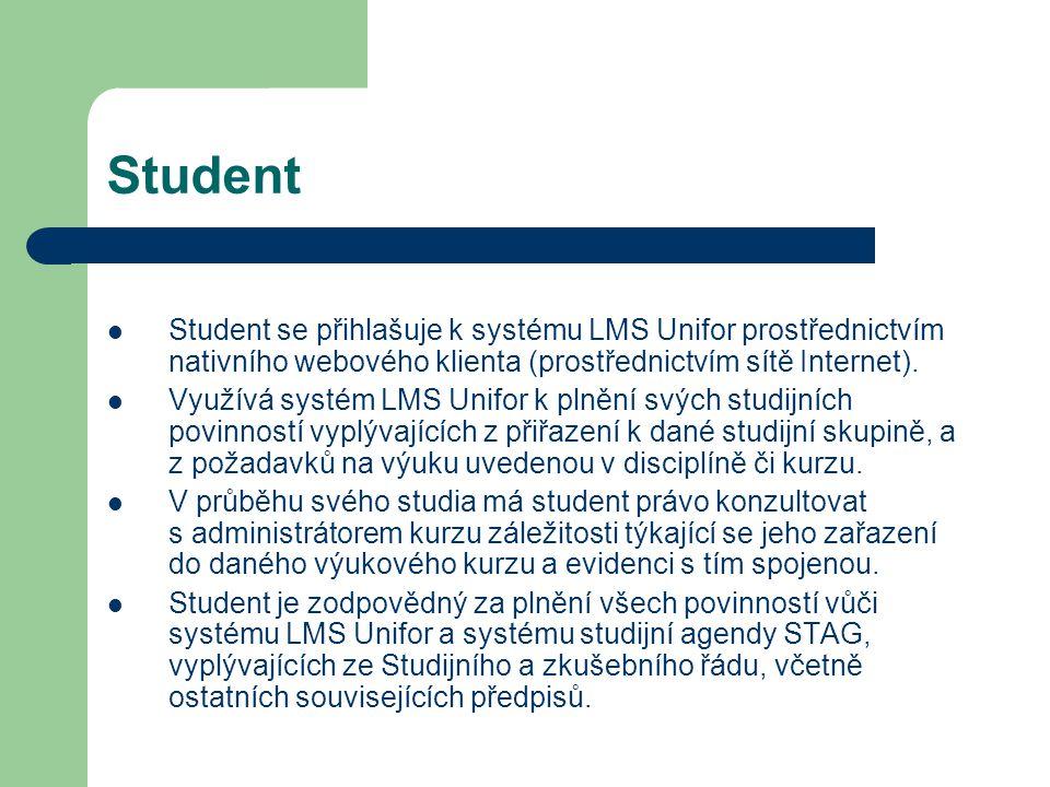 Student Student se přihlašuje k systému LMS Unifor prostřednictvím nativního webového klienta (prostřednictvím sítě Internet). Využívá systém LMS Unif